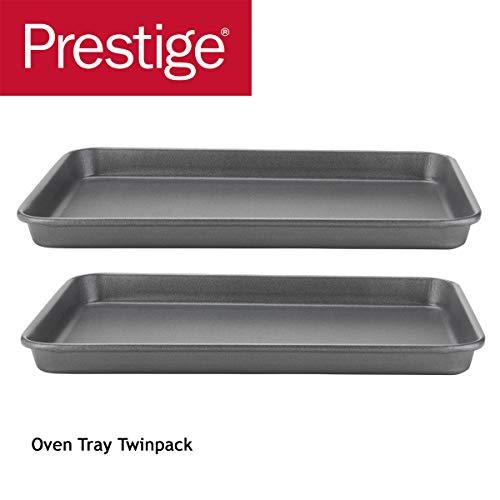 PRESTIGE Tough & Strong Bakeware 2pc Tray Set-Reinforced Non-Stick Steel – Oven And Dishwasher Safe Teglia da Forno in Confezione Doppia, Acciaio