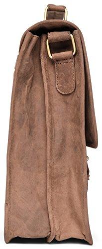 41ZMv0gQ6WL - LEABAGS Clearwater Bolso de Mensajero de auténtico Cuero búfalo en el Estilo Vintage - Muskat