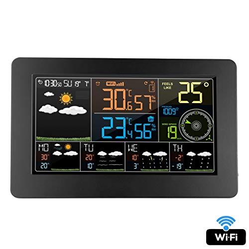 Digitaal alarm, wandklok, weerstation, wifi, binnen, buiten, temperatuur, luchtvochtigheid, wind, weersvoorspelling LCD