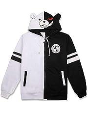 FORLADY czarno-biały niedźwiedź bluza z kapturem zamek błyskawiczny kurtka jednolita monokuma cosplay kostium anime bluza z kapturem unisex