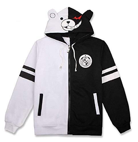 FORLADY Schwarzweiss Bär Hoodie Reißverschluss Jacke Uniform Monokuma Cosplay Kostüm Anime Hoodie Unisex.