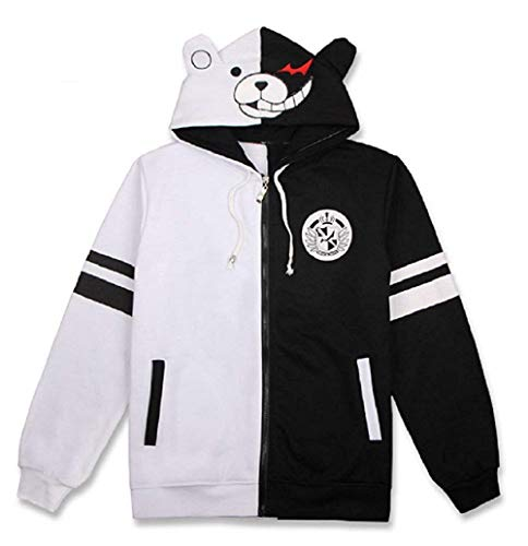Black and White Bear Hoodie Zipper Jacket Uniform Monokuma Cosplay Costume
