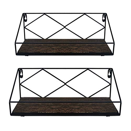 MondayWood Floating Shelves for Wall, 2 PCS Boxwood Wall Shelves Decorative Mounted Display Floating Wall Shelf Storage Rustic Wooden Shelves for Bedroom, Bathroom, Living Room and Office Decor