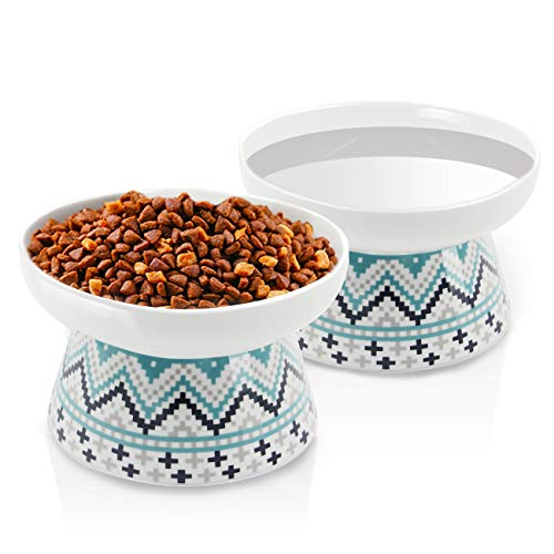 Frewinky Cat Bowls,Elevated Cat-Bowls Anti Vomiting,Ceramic cat Dishes,Raised Cat Food and Water Bowl Set for Flat Faced Cats and Small Dogs,12 Oz,Blue