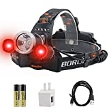 BORUiT RJ-3000 LED Headlamp with Red Light - White & Red LED Hunting Headlight - Red Backlight - USB Rechargeable & 3 Mode - 5000 Lumens Tactical Head lamp for Running, Camping, Hiking & More
