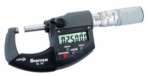 Starrett 795x fl-4LCD fuera micrometre, IP67, fricción Dedal, contratuerca, carburo caras, 3–4Rango, 0.00005 graduación, -0.00015Precisión, RS-232salida