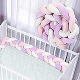 YoofossTrenza Protector de Cuna, Bebe Parachoques, Protector Cuna Chichonera para Proteger Bebe y Decorar la Cuna (Púrpura, 150cm)