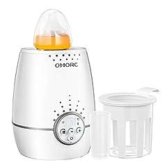 OMORC 3 in 1 babyfleswarmer voor snelle en gelijkmatige verwarming van melk & babyvoeding in slechts 3 minuten, babyvoedingwarmer met LED-display, wit*