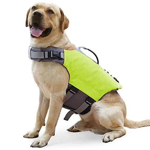 LIMESI Chaleco Salvavidas para Perro, Salvavidas Antidesgarros para Mascotas con asa de Rescate Superior, Chaleco de Flotación de Alta Visibilidad, para Perros Pequeños Medianos Grandes-Green||XL