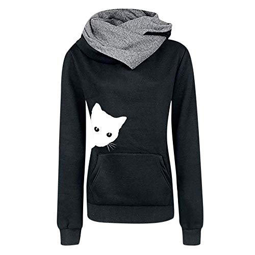 iYmitz Damen Herbst und Winter Beiläufig Hoodies Farbe Sweatshirt Reiner Blusen-Pullover(Schwarz,XL)