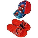 Chanclas Spiderman Flip-Flop para Playa o Piscina + Gorra Spiderman Marvel para Niños (Rojo, Numeric_24)
