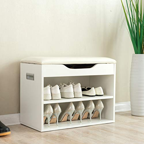 Cherry Tree Furniture 2-Level Shoe Rack Bench Storage 60 x 30 x 45 cm, White