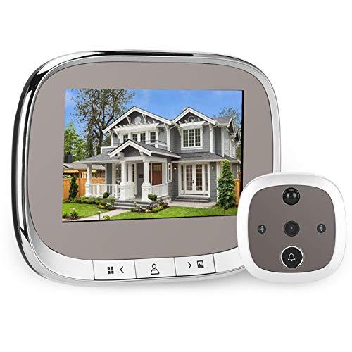 Timbre con video, visor de puerta inteligente de 4.3 pulgadas con pantalla 720P, timbre con video inalámbrico, timbre de seguridad con visión nocturna por infrarrojos y detección de movimiento, para s