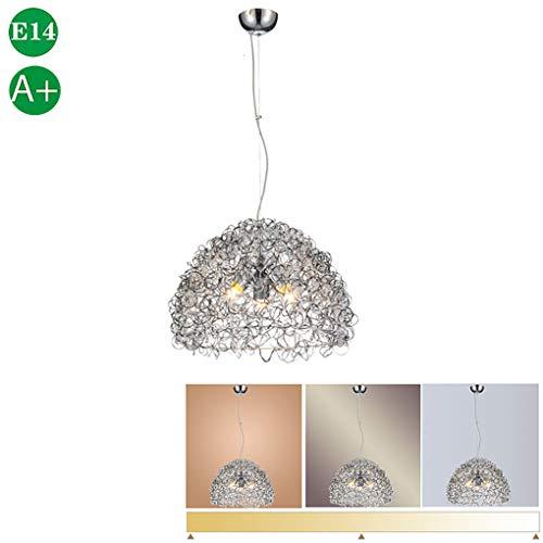 Moderne hanglamp eettafel lamp opknoping licht ontwerp licht verstelbare hoogte hanglamp E14 hanglamp aluminium licht metalen lampenkap voor eetkamer woonkamer kantoor koffie zilver, Ø42cm