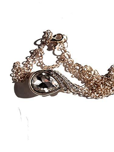 Unbekannt Österreichischen Kristall Wassertropfen Anhänger & Halsketten Gold Farbe Kette Halskette Edlen Schmuck Für Frauen mit weissem Stein