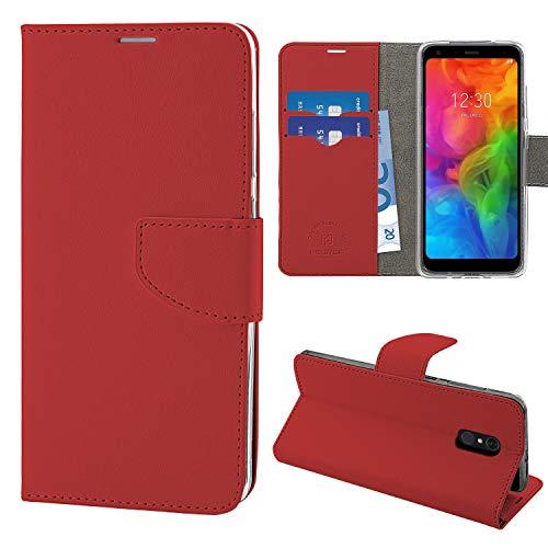 N NEWTOP Cover Compatibile per LG Q7, HQ Lateral Custodia Libro Flip Chiusura Magnetica Portafoglio Simil Pelle Stand (Rossa)