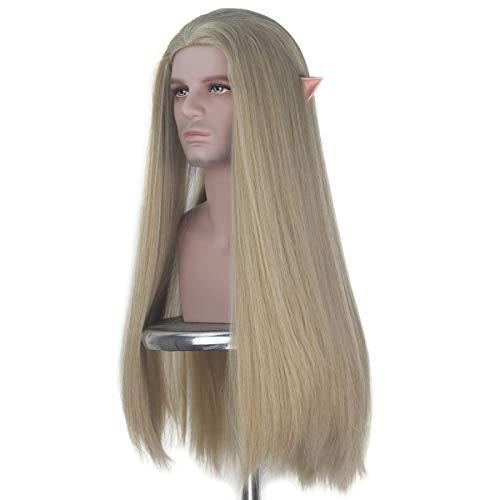 iCos Men's Long Straight Ash Blonde Hair Cosplay Costume Wig Men Halloween with Elf Ear