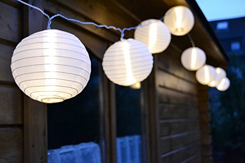 LED LAMPION PARTYLICHTERKETTE 5m WARMWEIßE LEDs 20er LICHTERKETTE LAMPIONS