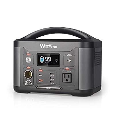 wolfyok Portable Power Station, 501Wh Solar Generator, 500W (Peak 1000W) AC Outlet/DC/QC3.0 USB/Type-C, Quiet Backup Battery Power Supply for CPAP Camping Outdoor Travel Emergency with LED Flashlight