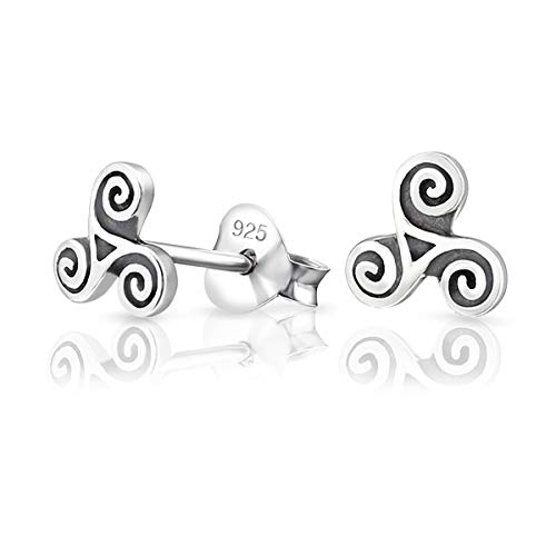 DTPsilver® KLEINE Ohrringe 925 Sterling Silber - Keltische Triskele Ohrstecker - Durchmesser: 6 mm