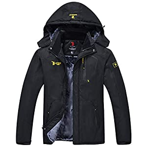 Men's Mountain Waterproof Fleece Ski Jacket Windproof Rain Jacket