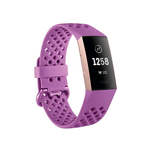 Image of the Fitbit Charge 3 Fitness Activity Tracker, Rose Gold/Berry, One Size (S & L Bands Included)