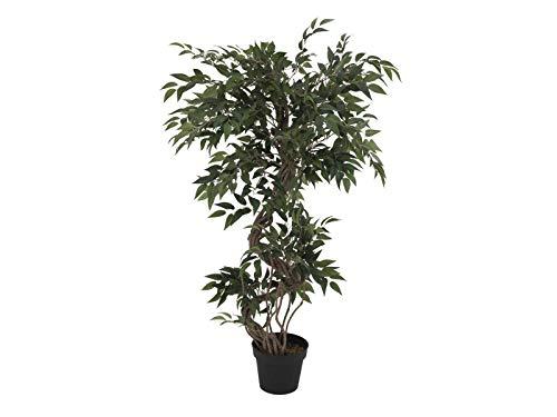 artplants.de Set 'Árbol ficus Artificial + Spray de protección UV' - Ficus sintético MIYU, Troncos Naturales, Verde, 130cm