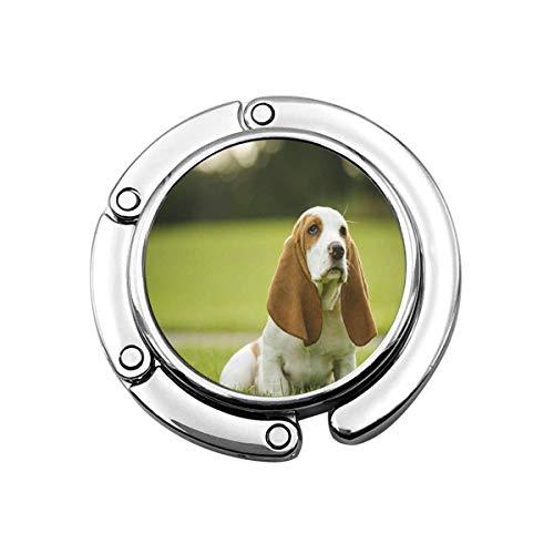 Lindo Bolso Plegable Percha Gancho Monedero Lindo Perro Basset Hound Cachorro Sentado...