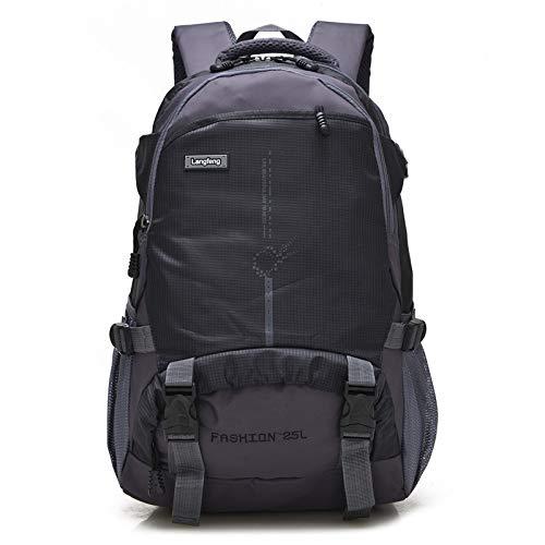 QXbecky Sac à dos de haute qualité en tissu Oxford sac à dos de grande capacité de randonnée en plein air sac à dos léger sport alpinisme sac étudiants masculins et féminins sac noir 29x14x48cm