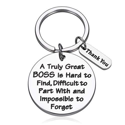 Boss Appreciation Keychain Gifts for Women Men Bosses Day Supervisor Leader Going Leaving Away Goodbye Farewell Thank You Gift for Coworkers Colleague Birthday Retirement Christmas Key Chain Tag