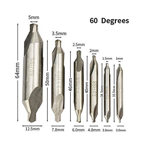 NIANZAI Hongfubang 60 Grados Centro de Broca Set 1 mm 1,5 mm 2,5 mm 2 mm 3 mm 3,5 mm 5,0 mm Broca de avellanar de Tin Coated Combinadas Centro Taladros (Color : 6pcs 1.0 5.0mm Set)