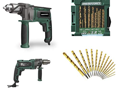 Masterforce 8.5-Amp Corded 1/2' Hammer Drill with Titanium Twist Drill Bit Set - 15 Piece
