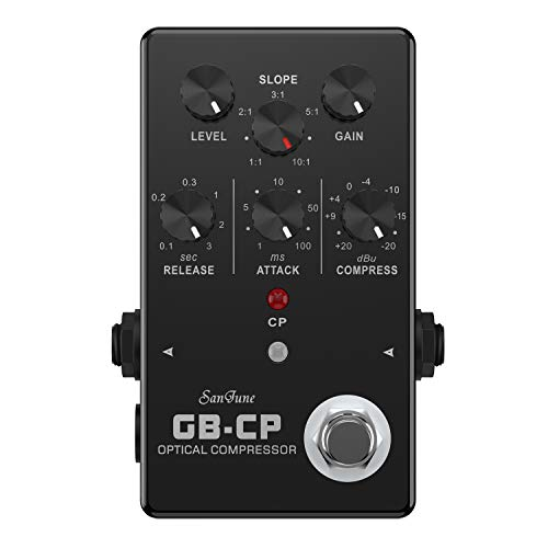SanJune GB-CP Optical Compressor Guitar and Bass Effects Pedal, Black