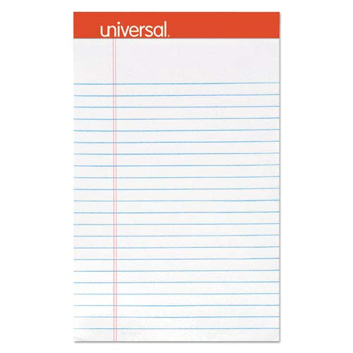 Universal - Perforated Edge Writing Pad, Jr. Legal Rule, 5 x 8, White, 50-Sheet, Dozen - Sold As 1 Dozen - Excellent quality 16-lb. free-sheet is perforated for easy removal.