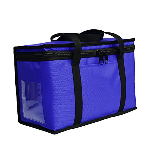 FZYE Bolsa Aislante Comercial para Entrega de Alimentos, Bolsa aislada portátil, Impermeable, refrigerada y aislada con Divisor distribuible, Calentador de Barbacoa para Picnic, Azul