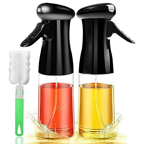 Andifany Rociador de Aceite para Cocinar Juego de 2 Paquetes Dispensador de Aceite de Oliva Recargable Espray Botellas de Vinagre VersáTiles con Cepillo