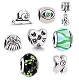 AKKi Jewelry Charms para pulsera Pandora, juego de cuentas de cristal de Murano, cadena de mejor dije para mujer, Queen Silver joyas Friends, plata flor multicolor