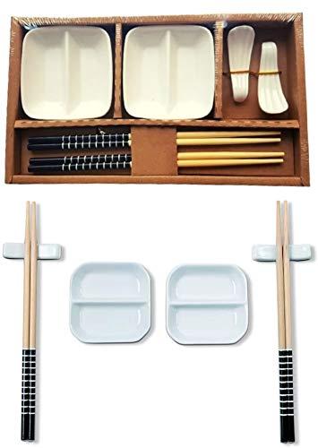 Kit Sushi 8 Pecas com 2 Porta Molho + 2 Pares de Hashi + Descanso