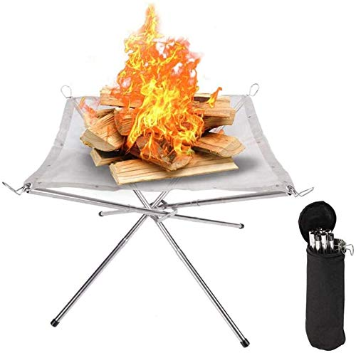 VERONNI Portable Fire Pit Outdoor 16.5 Inch Camping Fire Pit Foldable, Steel Mesh Fire Pits Fireplace for Camping, Outdoor, Patio, Backyard and Garden