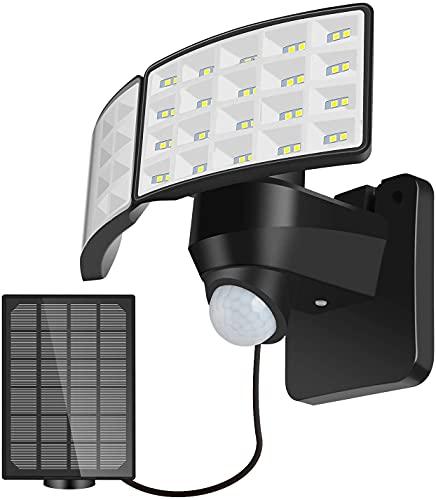 PJDOOJAE IP65 Luz solar impermeable 160 0LM Solar DIRIGIÓ Luz solar de sensor de movimiento Luz de seguridad solar al aire libre, con 2 cabezas ajustables, 550 0K, IP65 Luz de inundación impermeable p