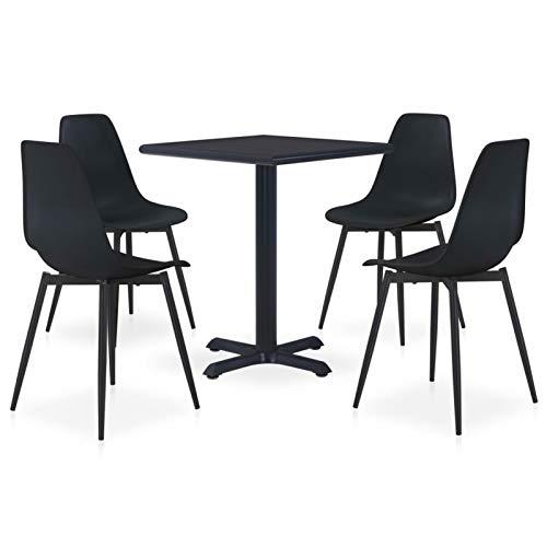 Tidyard Conjunto de Mesa sillas,Mesa Salón y Sillas,Muebles de Jardin Exterior Conjuntos 1# Set de Comedor de jardín 5 Piezas Metal y PP Negro