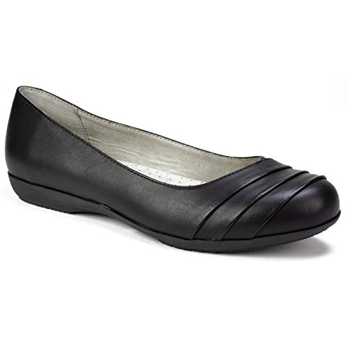 CLIFFS BY WHITE MOUNTAIN Shoes Clara Women's Flat, Black/Burnished/Smooth, 8 M