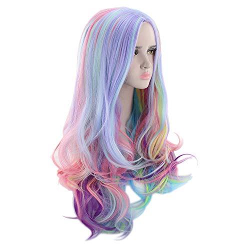 Longra Largas rizadas Pelucas llenas Colores Multicolores