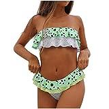 K-youth bikini mujer 2019 Un Hombro Volantes Correas de Gorditas En Traje de BañO, Vestidos para Playa 2 Piezas