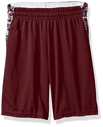Augusta Sportswear Boys' Large Hook Shot Reversible Short, Maroon/Maroon Digi