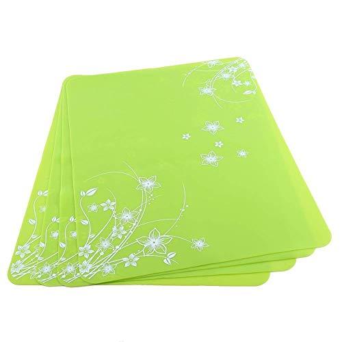 Passez la souris sur l'image pour zoomer Lot de 4 sets de table Sets de table Tapis en silicone Dessous de plat Cuisine antidérapant Vaisselle Verres 40 * 30 * 0,08 cm vert