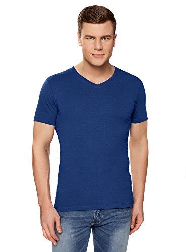 oodji Ultra Hombre Camiseta Básica con Escote en V, Azul, S