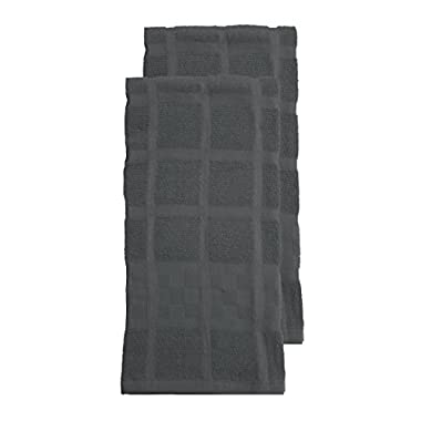 RITZ KitchenWears Cotton Solid Oversized Kitchen Dish Towel Set, 2-pack, Graphite