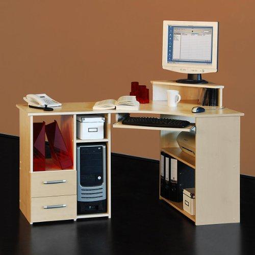 Eck-Schreibtisch mit Aufsatz in Ahorn