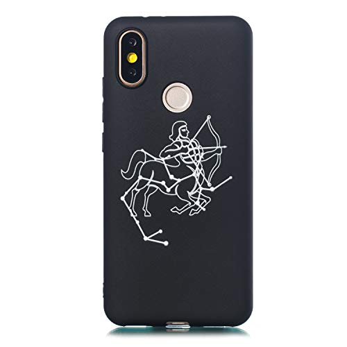 MoreChioce kompatibel mit Xiaomi 6X Hülle,Xiaomi 6X Hülle Schwarz Matt,Kreativ Schütze Linien Weiche Silikon Handyhülle Sternbild muster Transparent Kratzfest TPU Flexible Bumper
